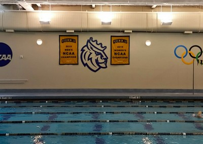 Queens University - NCAA Logo, Rex Head & Olympic Rings
